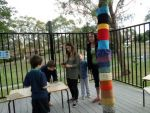 Students making Bogong Moths in front of knitted tree